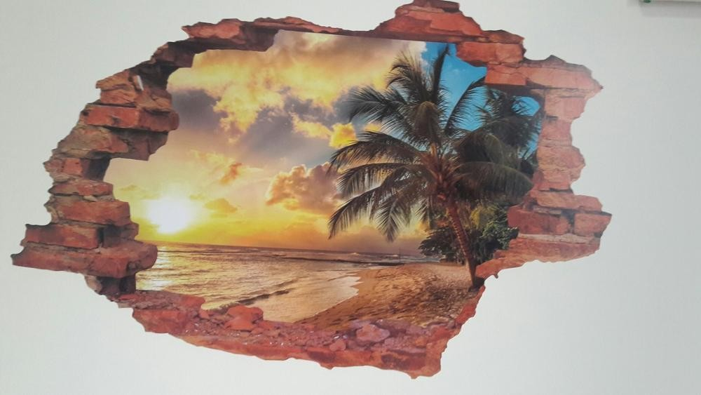 HTB1AGs9KXXXXXcTXXXXq6xXFXXXo - Free shipping:3D Broken Wall Sunset Scenery Seascape Island Coconut Trees Household Adornment Can Remove The Wall Stickers