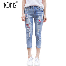 Nonis 2018 New Spring Ripped Patchwork Boyfriend jeans Women Casual Mid waist Street wear soft jeans female Loose trousers(China)