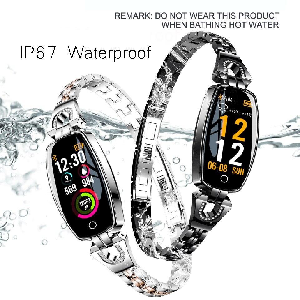 Fitness femmes montre intelligente dames moniteur de fréquence cardiaque Sport Bracelet étanche Bracelet intelligent Smartwatch bande pour Android iOS