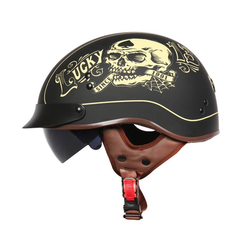 Moto d'été Marque de casque TORC T55 demi-casque Rétro scooter casque Vintage Lucky 13 crâne moto casco DOT approuvé capacete