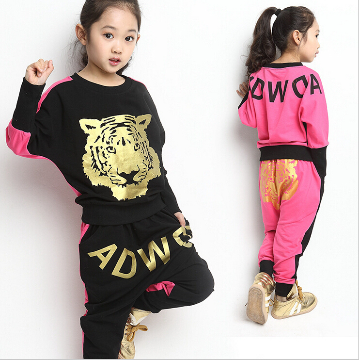9b36bdd11f49 Boys fashion clothes children 2017 autumn new casual sports suits girls 3  14 year old children hip hop pants two piece bat shirt-in Clothing Sets  from ...