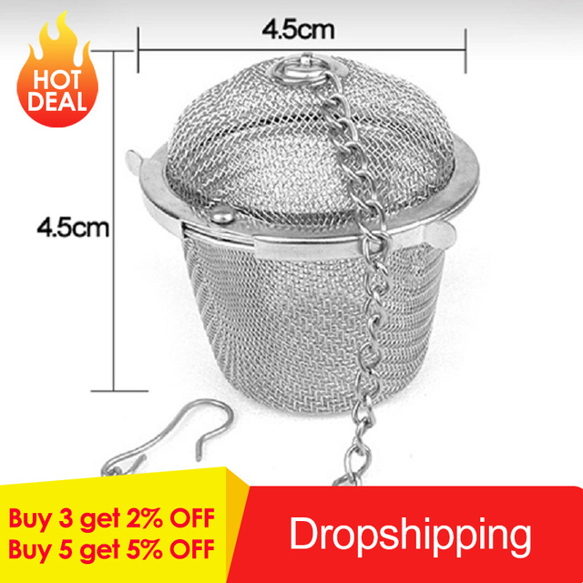 Hot Sales 45/55/65mm Stainless Steel Tea Infuser Locking Tea Strainer Reusable Mesh Tea Ball Filter Loose Tea Spice Strainer