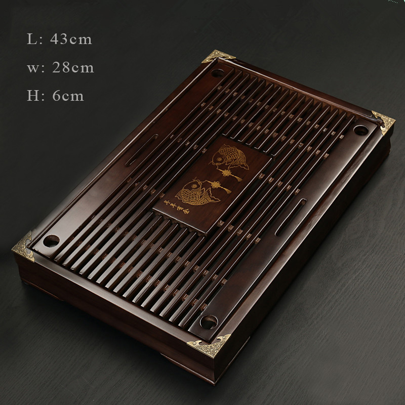 SIBAOLU Chinese Tea Tray Solid Wood Kung Fu Tea Set Drainage Water Storage Drawer Tea Room