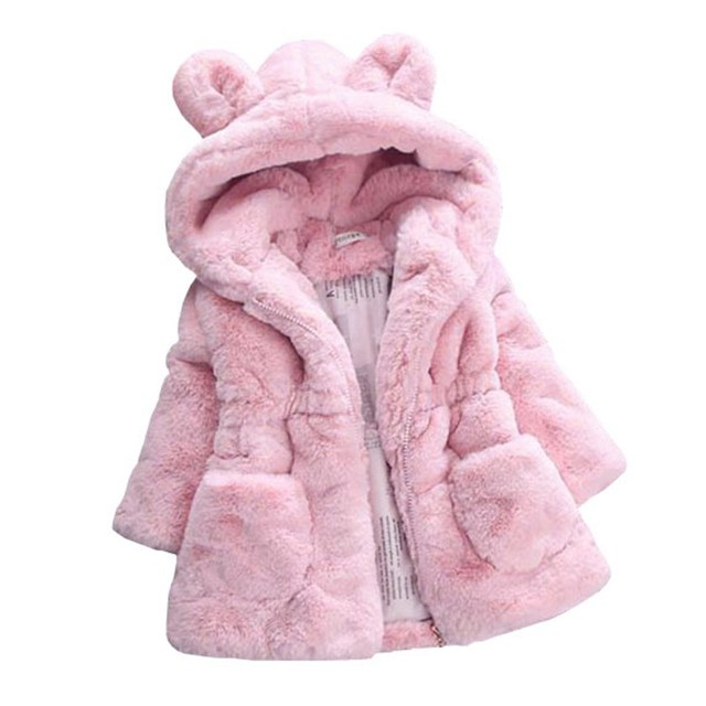2018 1-9T Winter Girls Jackets Faux Fur Cardigan Warm Baby Coats Teenager Thicken Children Clothing Girl Outerwear Kids Clothes