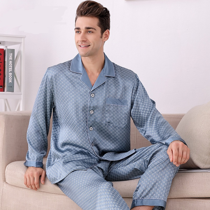 M8805 Men long sleeved Long Pants Silk Pajamas Two Suits light luxury 100 Silk Plaid Home