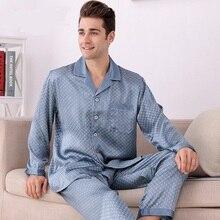 M8805 мужчины с длинными рукавами длинные Pantalon шелковые пижамы из двух Costumes роскошь свет 100% шелк плед домашняя одежда