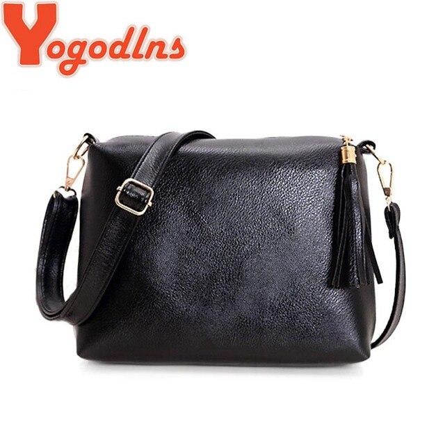 bf3bca0f4f115 Yogodlns Marka tasarım kadın çanta yumuşak deri fringe crossbody çanta  kadın postacı çantası şeker renk omuz püskül çanta