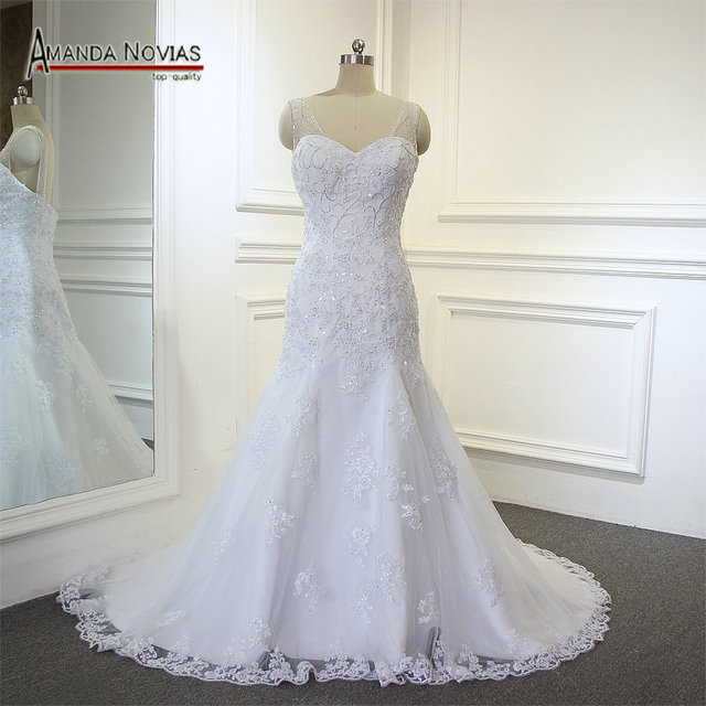 Wonderful Crystal Low Back Mermaid Full Lace Designer Irish Wedding Dresses