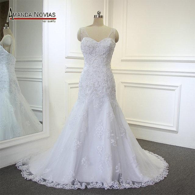 Wonderful crystal low back Mermaid full  lace designer irish lace wedding dresses