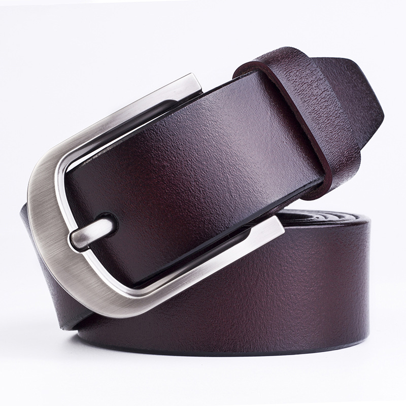 Luxury Cow Genuine Leather Belt Men Designer For Male Pants Suits Chain Solid Metal Buckle Business Men Vintage Pin Buckle Belt