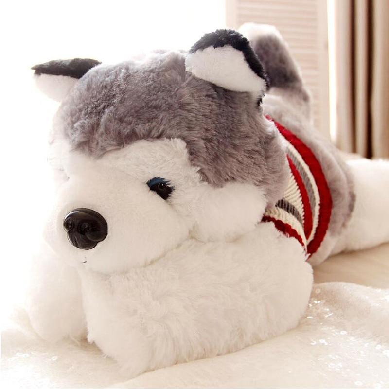1pcs Size 35 Cm Cartoon Gray Sweater Husky Dog Plush Toy Child Cloth Doll Large Pillow Cushion Child Christmas Birthday Gift