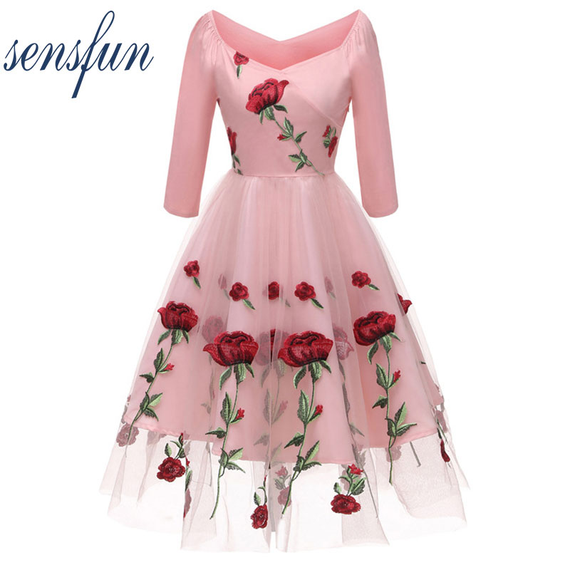 Sensfun 2018 Autumn Dress V Neck Women Vintage Dress Vestidos A Line With Embroidery Audrey Hepburn Robe Retro Rockabiliy Tulle