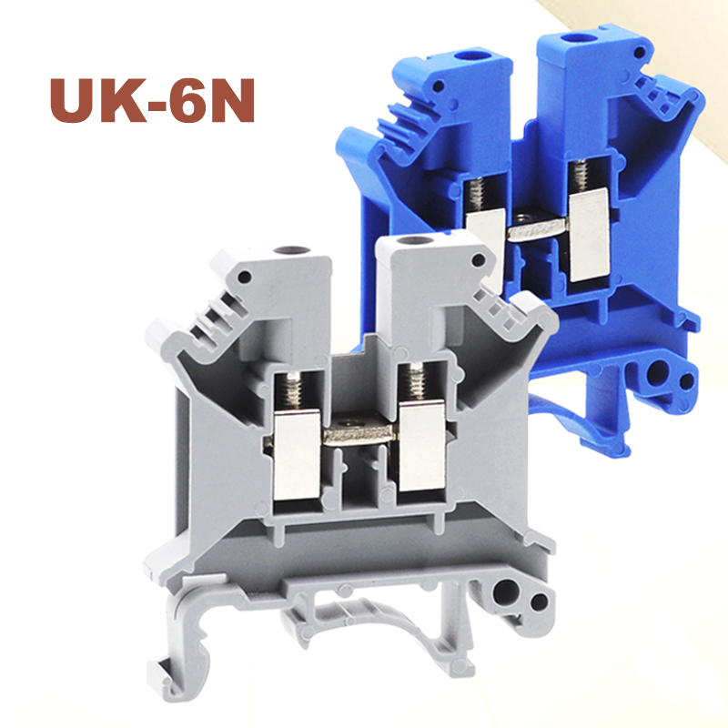 50pcs Din rail universal terminal blocks UK-6N screw Type wire electrical terminals block connector brass UK6N morsettiera 57A 50pcs uk5 twin uk5rd 4mm2 din rail screw clamp fuse terminal blocks connector
