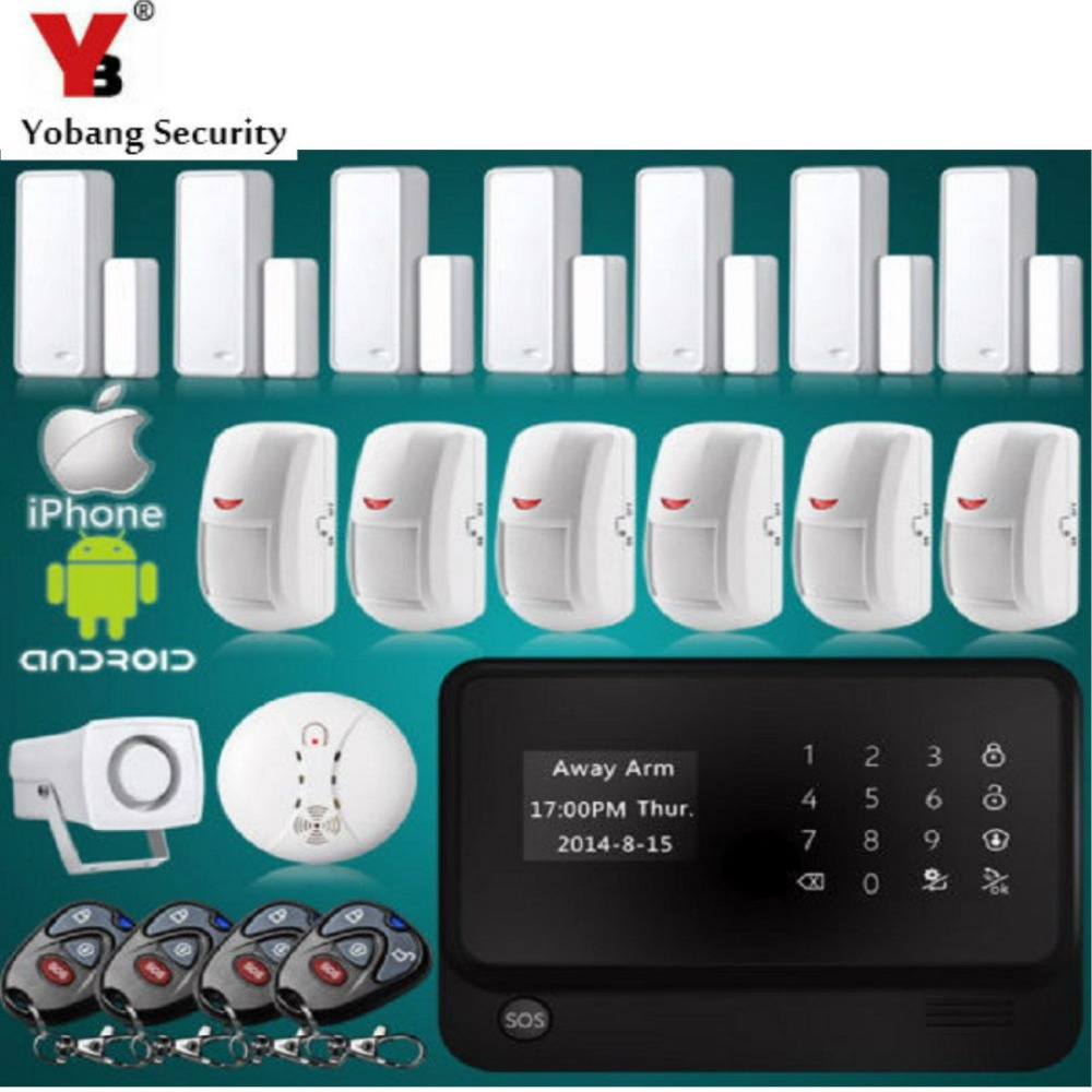 YobangSecurity GSM WiFi Alarm Security System APP Door Sensor PIR Detector Smoke Alarm Sensor for Home Security Alarm System wireless alarm accessories glass vibration door pir siren smoke gas water sensor for home security wifi gsm sms alarm system