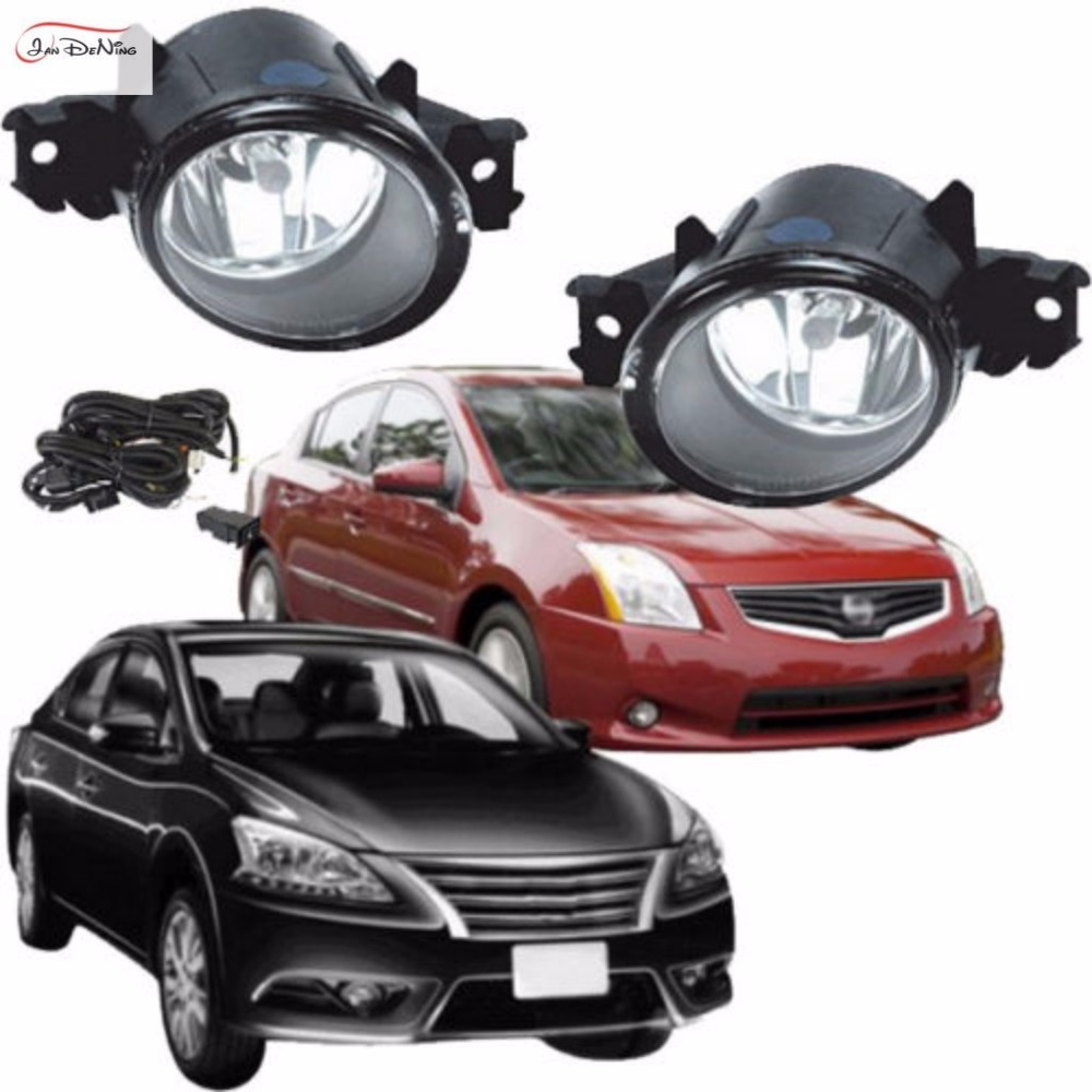 JanDeNing Car Fog Lights For Nissan Sentra 2010 / Sentra Clear Front Bumper Fog Lamp Assembly kit (one Pair) car fog lights lamp for mitsubishi triton 2 door 2009 on clear lens pair set wiring kit fog light set free shipping