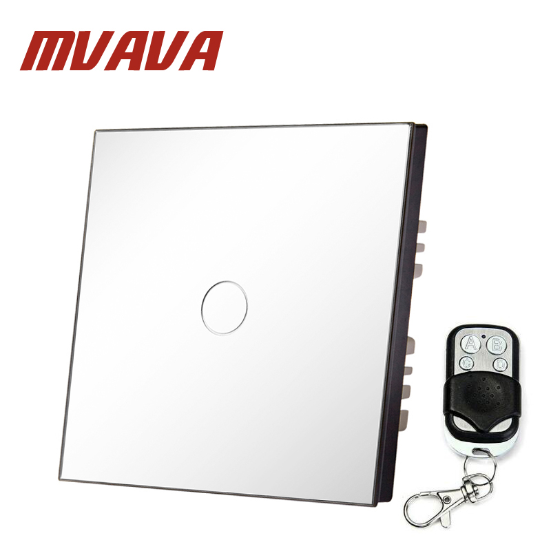 MVAVA EU standard Single Glass Panel 1 Gang 1 Way Remote Control Wall Touch Switch Luxury White Pearl Crystal Glass 80mm*80mm mvava eu standard 3 gang 1 way remote control light switch golden crystal glass panel touch switch wall switch for smart home