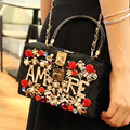 Luxury exquisite charm fashion corduroy diamond pearl hollow letter party bag handbag shoulder bag ladies purse chain flap