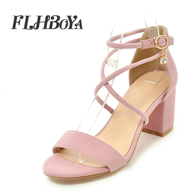 1c4257a7000 2018 Summer Buckle Strap Square heel Sandals Women Block Heels Shoe Woman  Cross-tied Strap Cover Heel Peep Toe Flock Femme Pump