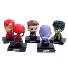Spider-Man Capitan America Thanos Iron Man Hulk 12 cm Bambole Bobble Head PVC Figure Giocattoli Modello di Auto Decorazione supporto del telefono(China)