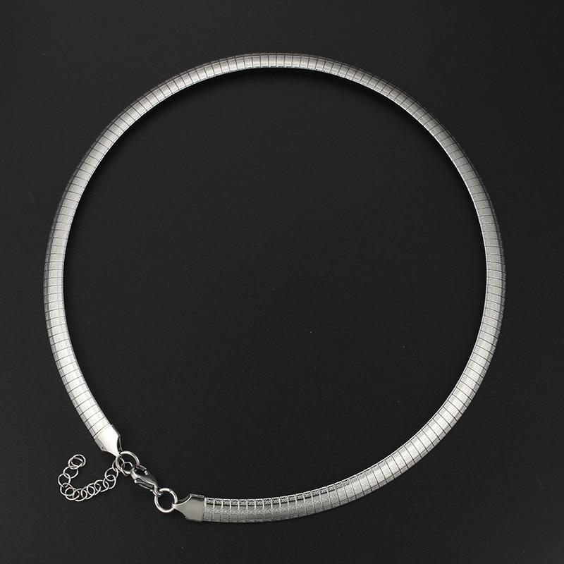 fe976f9e6716 De plata de moda de acero inoxidable de Color enlace cadena Collar para  regalo de los