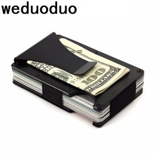 Weduoduo Slim Metal Credit Card Holder With RFID Anti-chief Travel Mini Wallet For Men Card holder Porte Carte Male Wallet цена