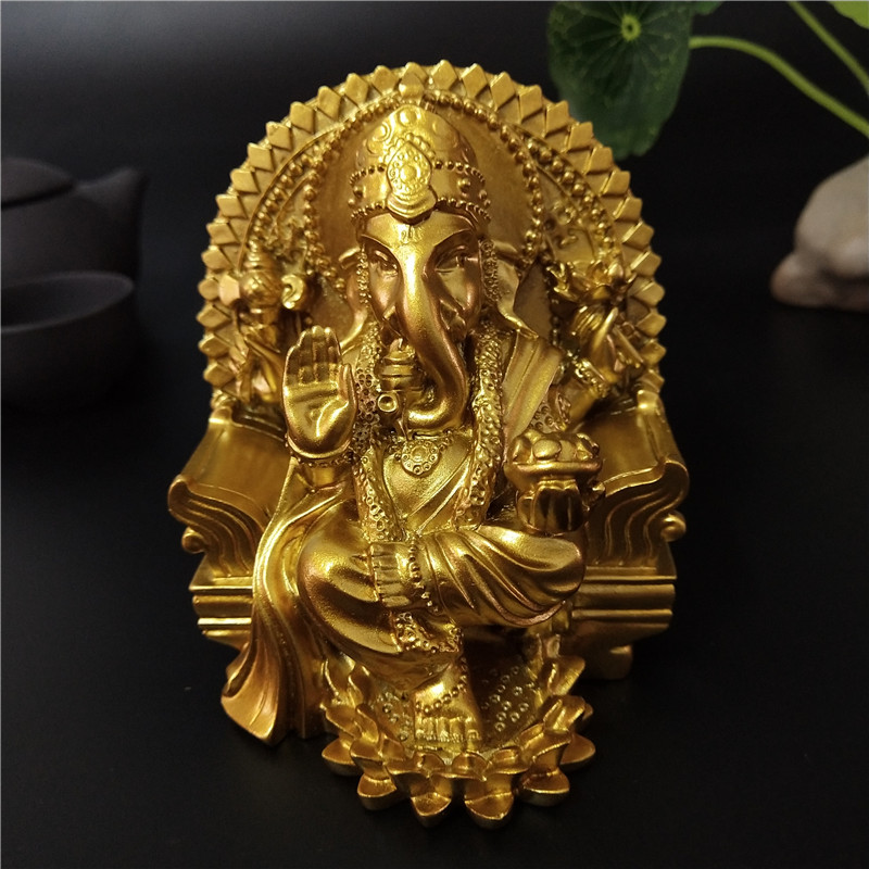 Golden Lord Ganesha Statue Buddha Elephant God Sculpture Indian Ganesh Buddha Statues Resin Crafts Home Garden Decoration