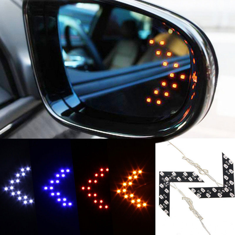 2X Blue Arrow Indicator 14SMD LED Car Side Mirror Turn Signal Light For Cadillac