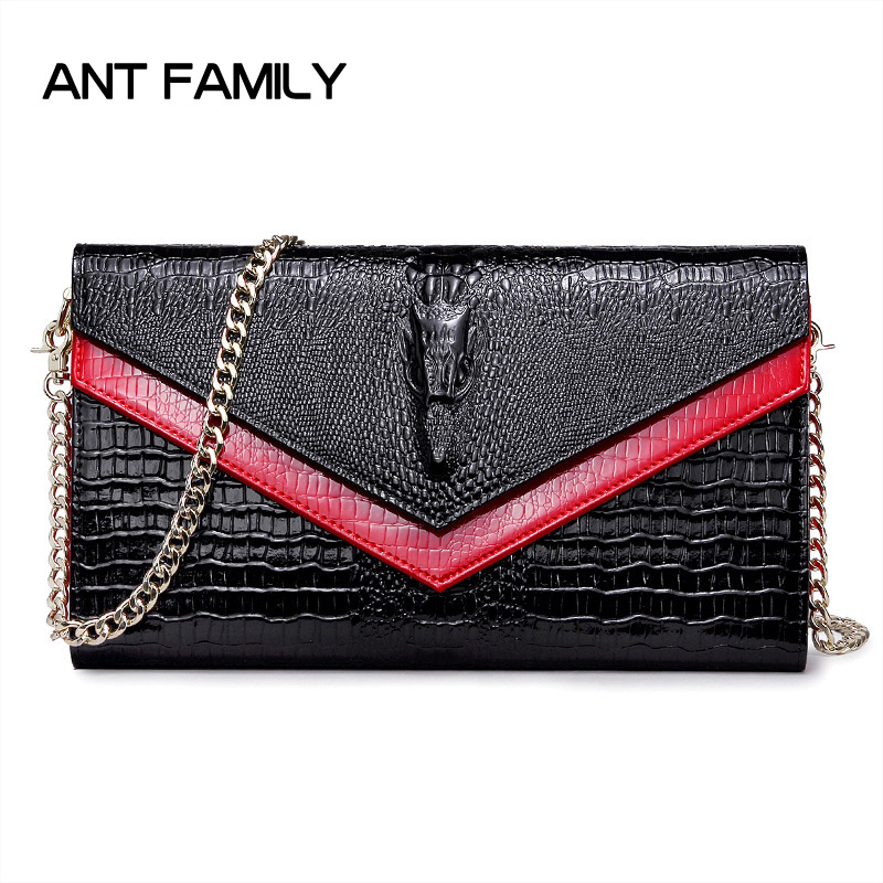 Women Genuine Leather Bag Luxury Handbags Women Bags Designer Crocodile Skin Messenger Leather Clutch Ladies Chain