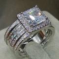 Tamanho 5-11 Atacado Corte Da Princesa de Jóias de Luxo 3 EM 1 925 Sterling Silver Pave CZ Mulheres Anéis de Noivado de Casamento Do Diamante conjunto
