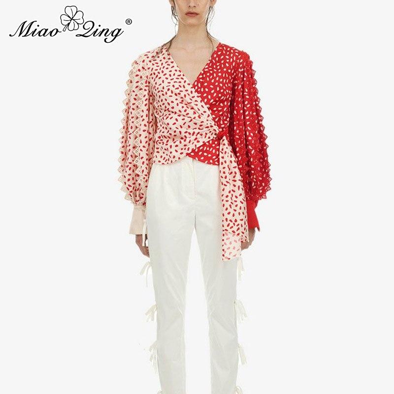 MIAOQING printemps Vintage rouge Patckwork couleur dentelle Blouse et hauts femmes Bandage à pois imprimé Blouse lanterne à manches longues chemises