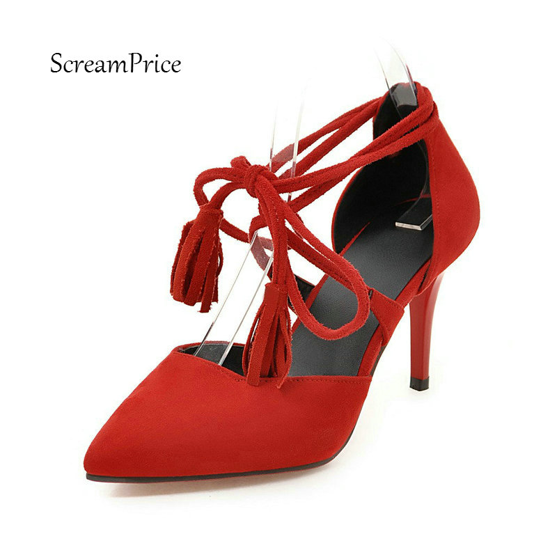 Faux Suede Sexy Gladiator Stilettos Womens High Heels Summer Cute Fringed Party Wedding Pumps Shoes with Lace Up Black Red Beige genuine soocoo c30 4k 24fps wifi action sports camera built in gyro 170 degrees lens 2 0 lcd ntk96660 30m waterproof dv