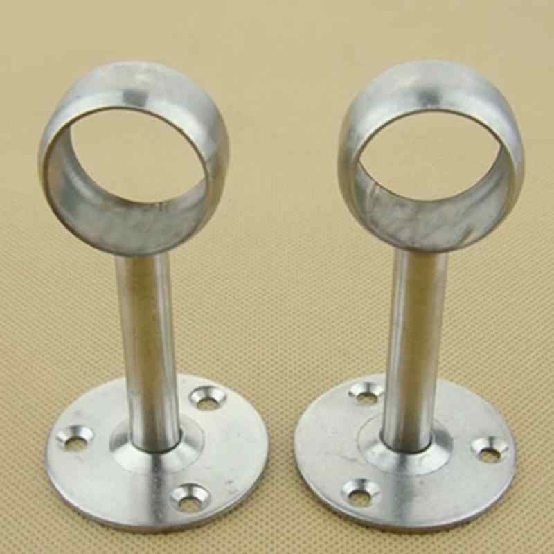 2pcs Shower Curtain Closet Rod Holder Pipe Flange Socket Ceiling Mount Bracket Fitting Parts Supports