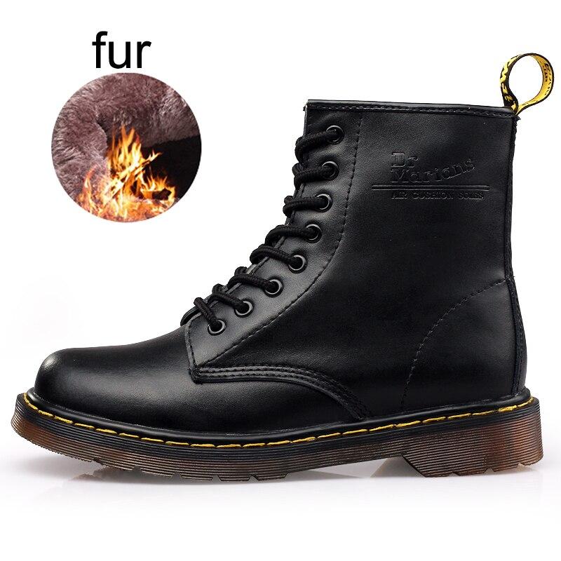 Зимние Сапоги унисекс Для мужчин Martens обувь ботинки из натуральной кожи меха Для мужчин большой Размеры рабочие безопасные ботинки высокие ...