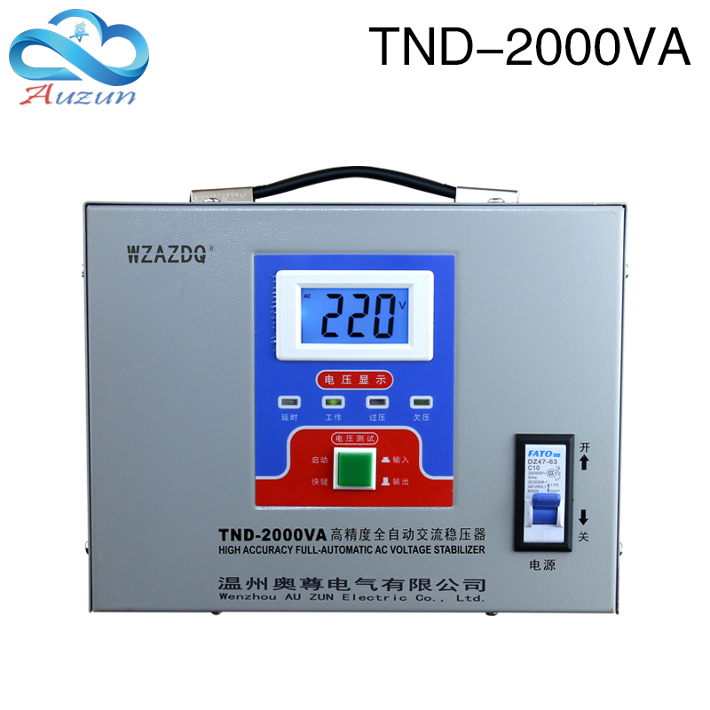 Tnd-2kva displays 2kw voltage regulator computer refrigerator single-phase ac automatic household Regulated power supply delixi voltage stabilizer automatic household ac regulator tv pc refrigerator voltage regulator avr 500w y