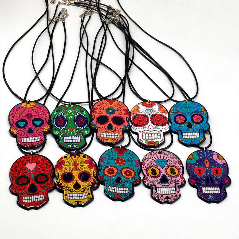 Sugar skull necklace Sugar skull pendant Goth Sugar skull Skull Skull pendant Horror Skull necklace Day of the dead Halloween