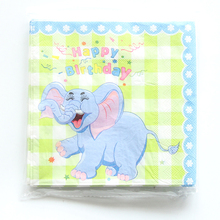 20pcs/lot Green Elephants Paper Napkins for Happy Birthday Party Cartoon Napkin Kids Favors Decoration Supplies