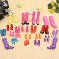 Mix 20 Pairs Мода Обувь для Барби Куклы Силиконовые туфли на Высоком каблуке Сандалии Сапоги Для Куклы Барби Игрушки Аксессуары Подарки для Девочек