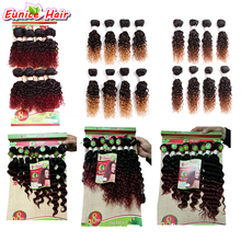 2017 Brazilian hair loose wave human curly hairstyle ombre brown bug kinky curly weft wavy hair extensions for full head