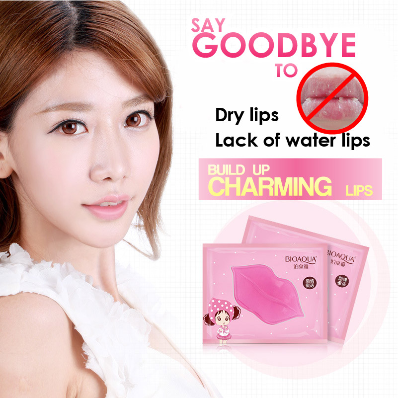 5Pc Lips Whitening Care Crystal Collagen Lip Mask Pads Moisture Essence Anti Ageing Wrinkle Patch Pad Gel Bleach Skin Lipstick