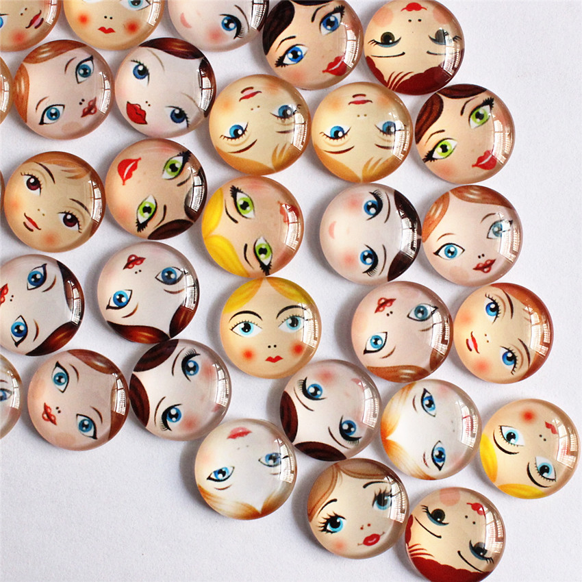 18mm Mixed Style Baby Head Matryoshka Round Glass Cabochon Flatback Photo Dome Blank Cameo Tray Base Accessor 30pcs/lot K05501