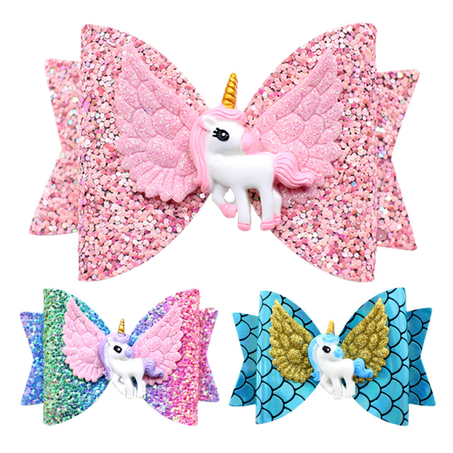 2019 NEW Unicorn Asa Acessórios de Cabelo para Meninas Crianças Princesa Glitter Arcos de Cabelo Clips Grampos Artesanais Bonito Crianças Cocar