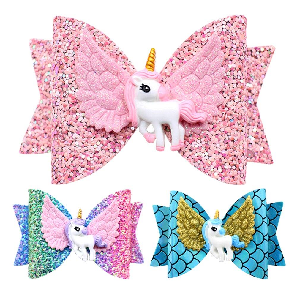 2019 nuevos accesorios para el cabello con alas de unicornio para niñas, niñas, Princesa, brillo, lazos para el cabello, horquillas hechas a mano