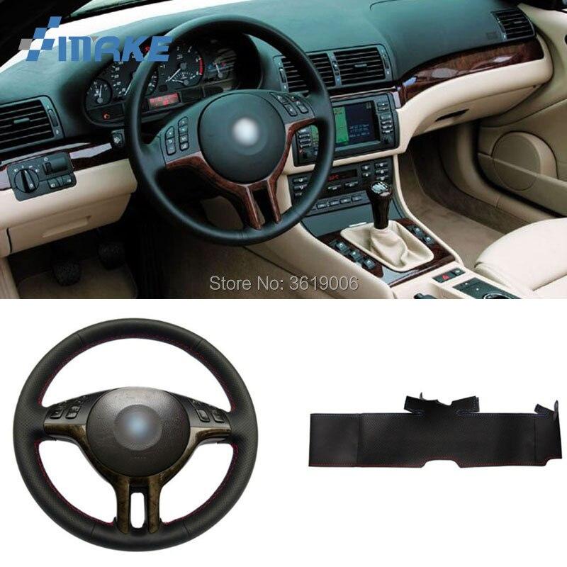 Pour BMW E39 E46 325i E53 X5 Haute Qualité cousu Main Anti-Slip Noir En Cuir Rouge Bleu Fil Couverture DIY Volant