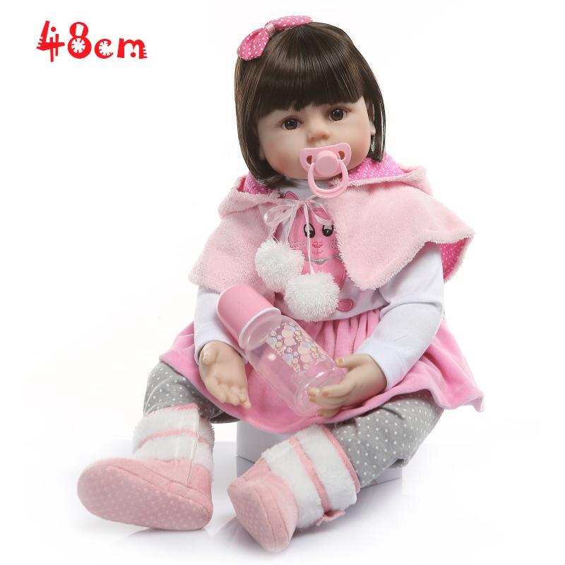 19 pouces Reborn silicone vinyle enfants jouer maison jouets lol poupées boneca reborn silicone reborn bébé bebe réel princesse regarder