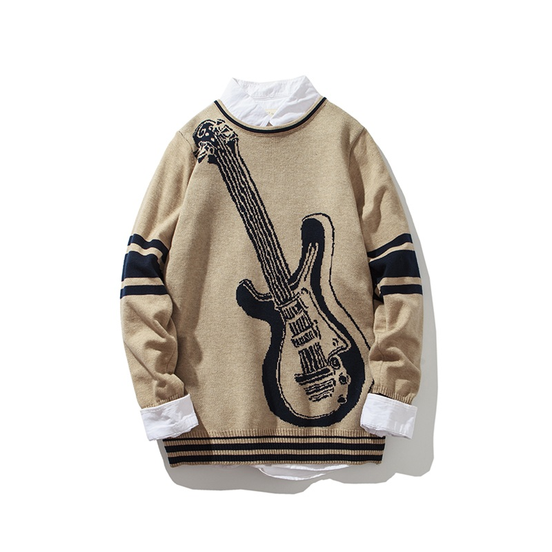 Envmenst 2017 Fashion Pullovers Knitted Fake Two Pieces Casual Man Knitwear Autumn Spring Men's Violin Printed Men Sweaters