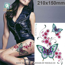 21X15cm Large Tattoo Sticker Bright Color Butterfly Flower Designs Temporary Tattoo Stickers Fashion Sexy Tattoo Sleeves
