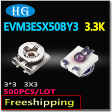 Smd EVM3ESX50BY3 evm3esx50b 3.3 К 3*3 500 шт./лот 3×3 данных внутри 3 мм площадь подстроечный потенциометр переменный резистор Реостат