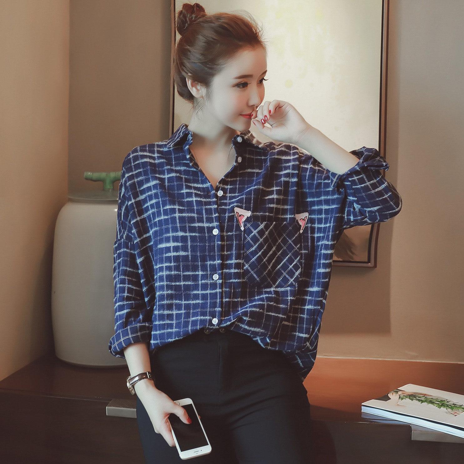 Online Get Cheap Womens Blue Check Plaid Shirt -Aliexpress.com ...