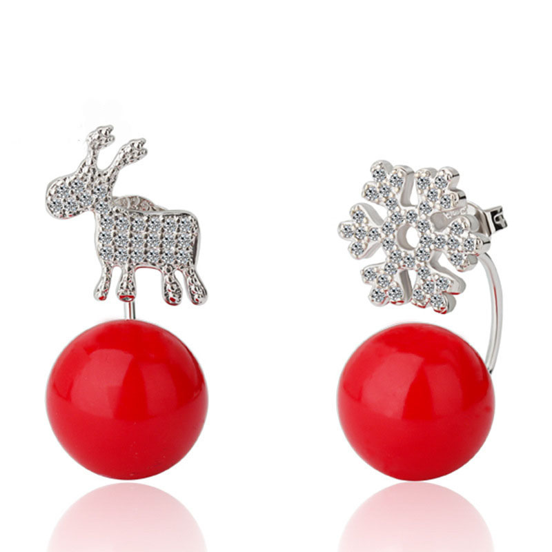 925 Sterling Silver Earrings Snowflake Deer Pearl Earrings With Red Ball Decoration For Women Fashion Jewelry Xmas Gift