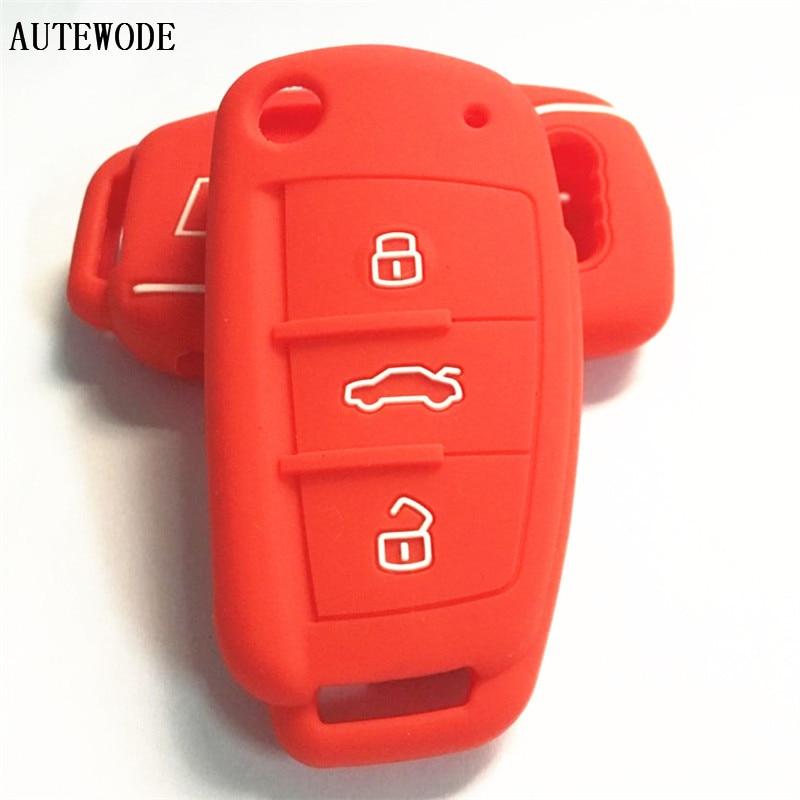 AUTEWODE Silicone car Key Case For Audi s line 3 Button Flip Folding Remote Key Shell